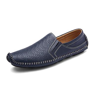 Heren Loafers & Slip-Ons Lente Herfst Comfortabel Weefsel Casual Platte hak Zwart Blauw Bruin