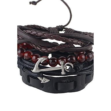Dames Lederen armbanden Gepersonaliseerde Modieus Leder Cirkelvorm Sieraden Feest Dagelijks Kostuum juwelen Zwart