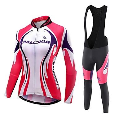 Malciklo Damen Langarm Fahrradtrikot mit Trägerhosen - Weiß Schwarz Britisch Geometrisch Fahhrad Strumpfhosen/Lange Radhose Kleidungs-Sets