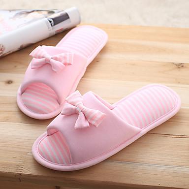 Slippers & Flip-Flops-Bomuld-Komfort-Dame-Rosa / Grå-Hverdag-Flad hæl