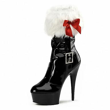 Mulheres Sapatos Flanelado / Couro Envernizado Outono / Inverno Botas da Moda / Tênis com LED / Sapatos clube Botas Salto Agulha / / Laço