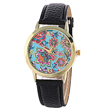 Dames Modieus horloge Kwarts Digitaal Maanfase PU Band Amulet Bloem Vintage Snoep Informeel Cool Zwart Wit