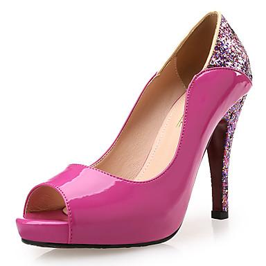 Mulheres Sapatos Sintético Couro Envernizado Primavera Verão Conforto Saltos Salto Agulha Peep Toe Lantejoulas para Social Festas & Noite