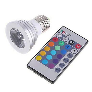 3W 180lm E26 / E27 Smart LED-lampe MR16 1 LED perler Høyeffekts-LED Mulighet for demping Fjernstyrt RGB 85-265V