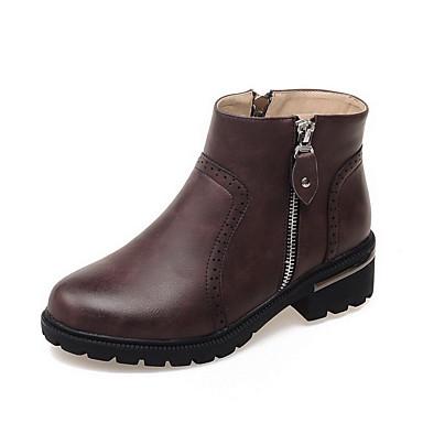 Støvler-PU-Plateau / Lukket tå / Modestøvler / Rund tå-Dame-Sort / Brun / Burgunder-Formelt / Hverdag-Tyk hæl