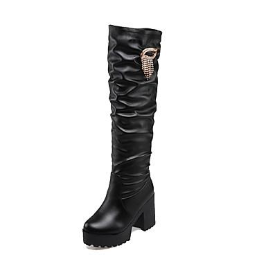 Støvler-PU-Komfort / Combat-støvler / Gladiator / Modestøvler-Dame-Sort / Brun / Hvid-Udendørs / Kontor / Hverdag-Tyk hæl