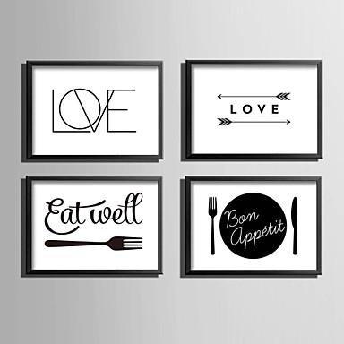 Woorden & Quotes Ingelijst canvas / Ingelijste set Wall Art,PVC Materiaal Zwart Zonder passepartout met Frame For Huisdecoratie Frame Art