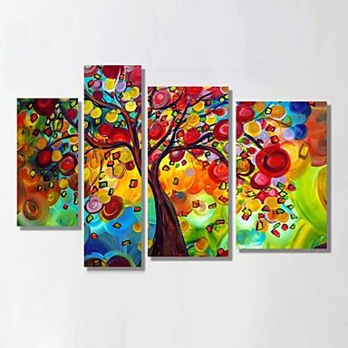 Pintura a Óleo Pintados à mão - Abstrato / Paisagem / Vida Imóvel Clássico / Modern / Estilo Europeu Tela de pintura / 4 Painéis