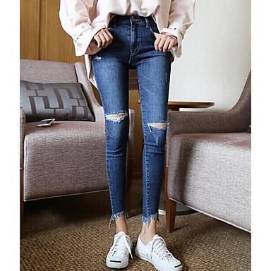 Feminino Simples Micro-Elástico Jeans Calças Cor Única