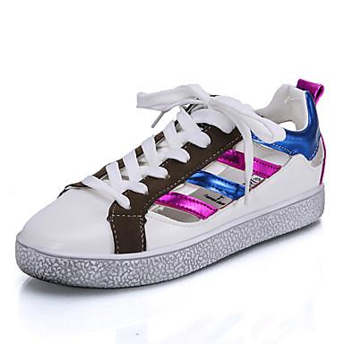 Sneakers-Kanvas / Kunstlæder-Komfort-Dame-Sort / Blå / Hvid-Udendørs / Sport-Flad hæl