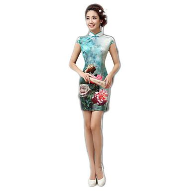 Einteilig/Kleid Cosplay Lolita Kleider Blumen Kurzarm Mittlerer Länge Zum Polyester