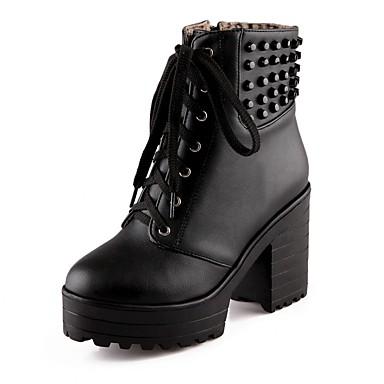 Damen Schuhe Lackleder Kunstleder Winter Herbst Neuheit Stiefel Walking Blockabsatz Schnürsenkel für Hochzeit Normal Büro & Karriere