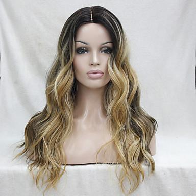 Syntetiske parykker Bølget Lagvis frisyre Varme resistent Naturlig hårlinje Mørke røtter Ombre-hår Mørkbrun Gull Blond Ombre Dame Blonde