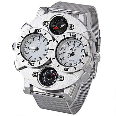 お買い得  軍用腕時計-Oulm 男性用 軍用腕時計 クォーツ 日本産クォーツ ステンレス シルバー 温度計付き コンパス 2タイムゾーン ハンズ ホワイト ブラック Brown 2年 電池寿命 / SOXEY SR626SW
