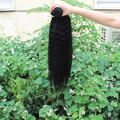 Menneskehår, Bølget Brasiliansk hår Yaki 12 måneder 1 Stykke hår vævninger