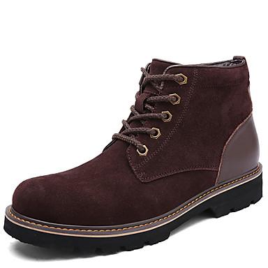 Masculino sapatos Couro Pele Primavera Verão Outono Inverno Curta/Ankle Botas da Moda Botas Cadarço Para Casual Cinzento Marron