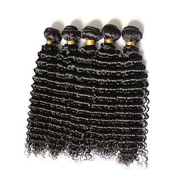 Menneskehår Brasiliansk hår Menneskehår, Bølget Dybt bølget Paryk med krøller Hår Ekstensions 4 Dele Sort