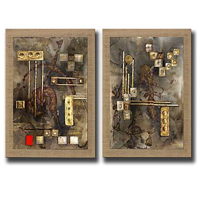 Handgeschilderde Mensen / Fantasie Olie schilderijen,Modern Twee panelen Canvas Hang-geschilderd olieverfschilderij For Huisdecoratie
