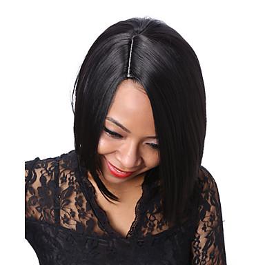 Syntetiske parykker Rett Bobfrisyre Afroamerikansk parykk Svart Dame Karneval Parykk Halloween parykk Svart Parykk Kort Syntetisk hår