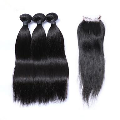 Cabelo Peruviano Trama do cabelo com Encerramento Reto Extensões de cabelo 4 Peças Preto