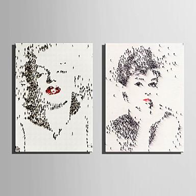 canvas Set Pessoas Estilo Europeu,2 Painéis Tela Vertical Impressão artística wall Decor For Decoração para casa