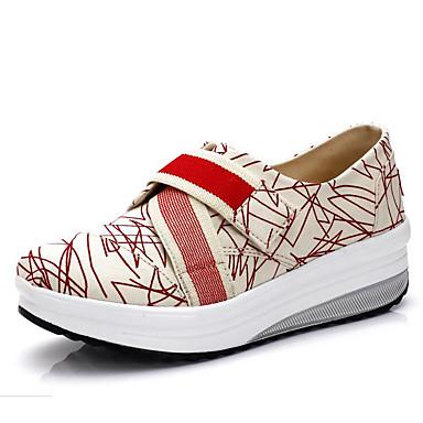Feminino Sapatos Lona Primavera Verão Outono Sapatos de Berço Mocassins e Slip-Ons Anabela Elástico Para Branco Vermelho Azul