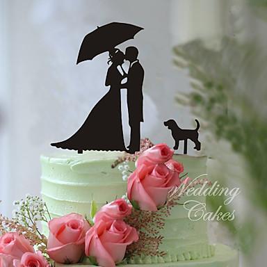Tortenfiguren & Dekoration Klassisch Klassisches Paar Acryl Hochzeit mit Blume 1pcs Geschenkbox