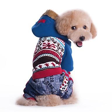 Gato Cachorro Casacos Camisola com Capuz Roupas para Cães Estampa Colorida Azul Rosa claro Algodão Ocasiões Especiais Para animais de