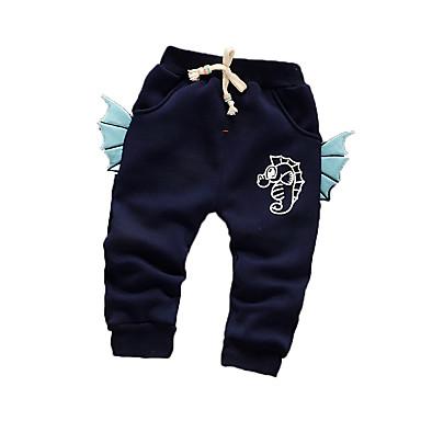 Baby Drenge Bukser Afslappet/Hverdag Trykt mønster, Bomuld Vinter Langærmet Tegneserie Navyblå Grøn Lys pink Lyseblå