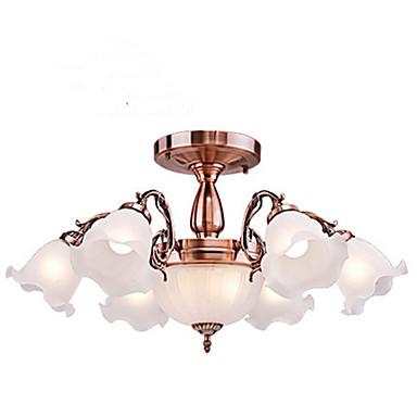 8-Light Candle-stil Takmonteret Op Lys Galvaniseret Metal Glas Ministil 110-120V / 220-240V Varm Hvid / Hvid Pære Inkluderet / E26 / E27