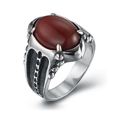 Herre Statement Ring - Personaliseret Vintage Mode Sort Rød Ring Til Daglig Afslappet