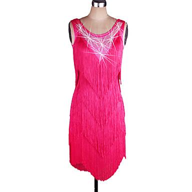 ラテンダンス ドレス 女性用 性能 スパンデックス / オーガンザ タッセル ノースリーブ ナチュラルウエスト ドレス