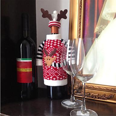 jul hjorte elk stil rødvin champagne flaske dækker taske til nytår middag fest julepynt