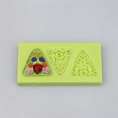 Bloemen vorm driehoek siliconen producten siliconen bakvorm fondant cake decoratie tools kleur willekeurig