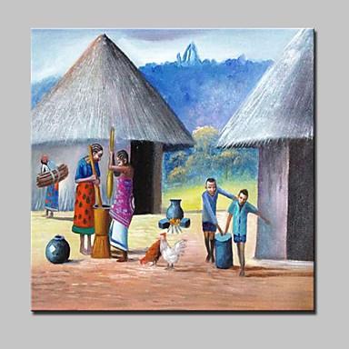 Handgeschilderde Abstract / Landschap / Mensen / Abstracte landschappen Olie schilderijen,Modern Eén paneel CanvasHang-geschilderd