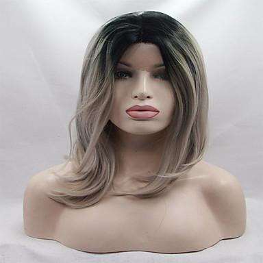 Peluca Lace Front Sintéticas Ondulado Corte Bob Pelo sintético Raya en medio Peluca Mujer Encaje Frontal