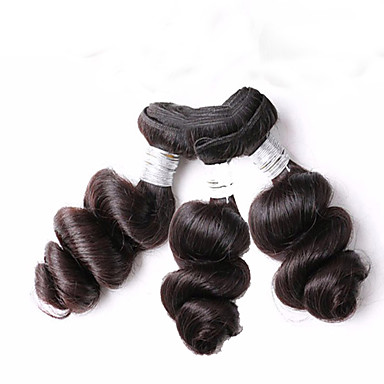 Menneskehår Brasiliansk hår Menneskehår, Bølget Løst bølget Hår Ekstensions 3 Dele Sort
