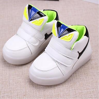 Unissex sapatos Couro Ecológico Outono Conforto Tênis Velcro Para Atlético Branco Verde Rosa claro