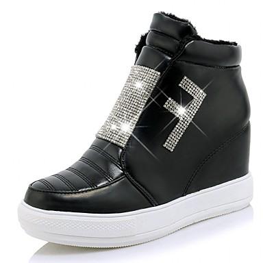Mulheres Sapatos Courino Couro Envernizado Primavera Outono Inverno Plataforma Básica Inovador Conforto Botas Caminhada Sem Salto