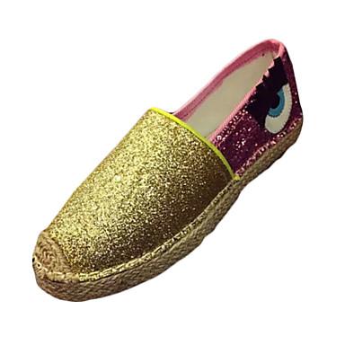 Dames Schoenen Canvas Herfst Comfortabel Loafers & Slip-Ons Platte hak Combinatie Zilver / Blauw / Gouden