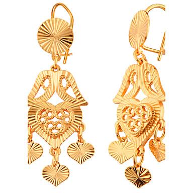 Feminino Para Meninas Brincos Compridos Amor Coração Moda Jóias de Luxo Chapeado Dourado Formato de Coração Jóias Para Casamento Festa