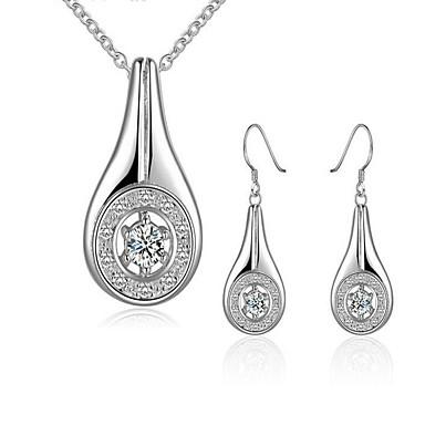 Dames Sieraden Set Ketting / Oorbellen Modieus Klassiek Synthetische Edelstenen Sterling zilver Zirkonia Kubieke Zirkonia Verzilverd