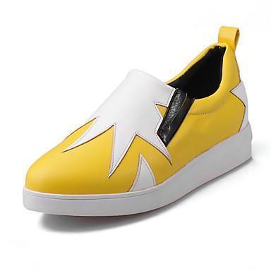 Dames Loafers & Slip-Ons Lente Herfst Winter Comfortabel PU Casual Sleehak Combinatie Zwart Geel