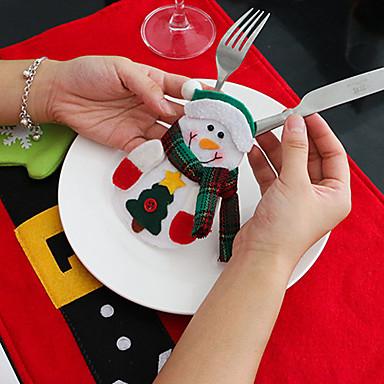 4 stk snømann kniv og gaffel poser juleborddekorasjoner