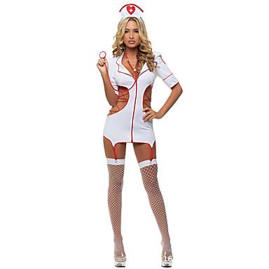 Sykepleiere Cosplay Kostumer Party-kostyme Dame Halloween Festival / høytid Halloween-kostymer Rød/Hvit Ensfarget