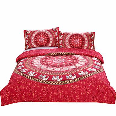 Bettbezug-Sets Neuheit 3 Stück Polyester / Baumwolle Reaktivdruck Polyester / Baumwolle 3-teilig (1 Bettbezug, 2 Kissenbezüge)