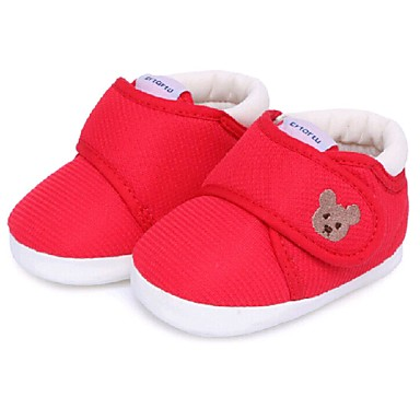 Fladsko-Bomuld-Babysko-Unisex-Rød Blå Lys pink Kakifarvet-Fritid-Flad hæl