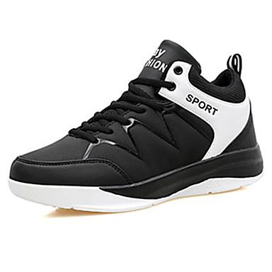 Herrer Sneakers Komfort PU Forår Efterår Afslappet Basketball Komfort Snøring Flad hæl Hvid Rød Blå Flad