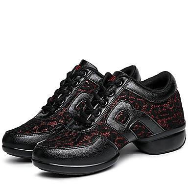 Sapatos de Dança(Preto / Vermelho) -Feminino-Não Personalizável-Moderna