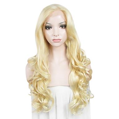 Vrouw Synthetische pruiken Kanten Voorkant Golvend Blond Kanten pruik Kostuumpruiken